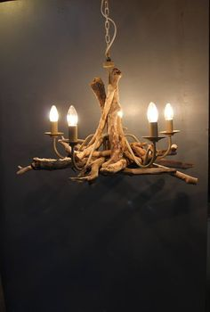 Driftwood chandelier, Driftwood Branch light Fitting, Five light chandelier with adjustable chain, Drift Wood Lighting