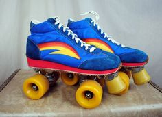 AWESOME vintage 1970s roller skates in great vintage condition! Great colors! Made in Taiwan ROC. Womens Size 9. By Norsport    ~10 1/2 back of insole
