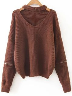 Shop Coffee Choker V Neck Zipper Sleeve Sweater online. SheIn offers Coffee Choker V Neck Zipper Sleeve Sweater & more to fit your fashionable needs.