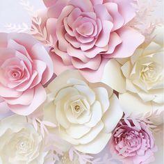 Pared de flores de papel Telón de fondo de flores por PaperFlora