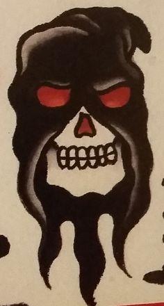 "Traditional/old school tattoo, Jeromey ""tilt"" McCulloch, Coopr, death, skull, executioner"