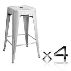 """Phillipa"" Replica Tolix Kitchen Counter Stool 66cm in Silver (Set of – Simply…"