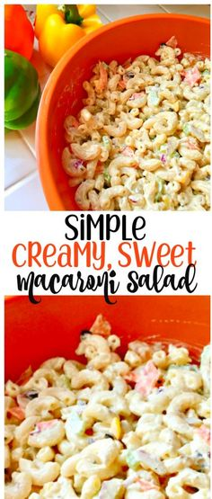 Creamy, Sweet Macaroni Salad | 4C Macaroni Cooked, 1C Mayonnaise, 1/2C Onion Chopped, ⅔C Celery Chopped, ⅔C Bell Peppers Chopped, 1 Carrot Grated, 1T Chopped Olives, 1T Vinegar, 1T & 1t Sugar, 1T Mustard, 1t Salt, ¼t Pepper. Combine all. | Organized Island