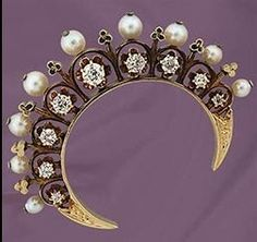 antique tiara, mine cut diamonds pinned with #Bazaart - www.bazaart.me