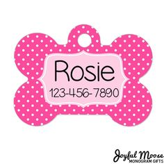 Personalized Dog Name Tag - Dog ID Tag - Custom Dog Collar Tag - Dog Tag Pink Polka Dots