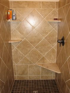 Our own ceramic shower wall and floor tile, border detail and ...