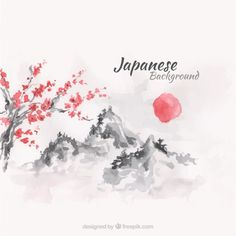 Sunset japanese landscape background in watercolor effect Free Vector
