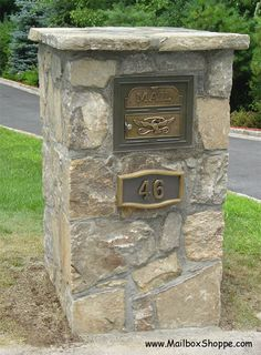 Since The Mailbox Shoppe has sold mailboxes and mailbox inserts for brick and stone columns. Stone Pillars, Brick And Stone, Brick Columns, Stone Walls, Stone Mailbox, Home Mailboxes, Residential Mailboxes, Mailbox Makeover, Mailbox Landscaping