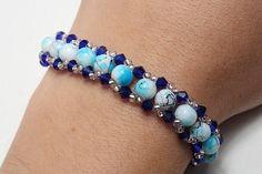 Blue glass beads bracelet by AGoodBead on Etsy, $11.00