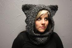 Wolf Hooded Crocheted Cowl Neckwarmer with Ears by CrochetTilDeath, $45.00