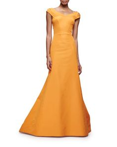 Split Cap-Sleeve Mermaid Gown, Tangerine by Zac Posen at Neiman Marcus.