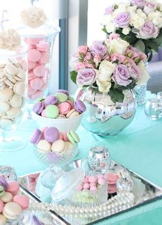 A desert table can be the pièce de résistance to any celebration. Why have a single dessert when you can offer the full pastel pastry rainbow? Trendy Wedding, Floral Wedding, Wedding Colors, Wedding Pastel, Wedding Desserts, Wedding Decorations, Wedding Cakes, Pastell Party, Deco Ballon