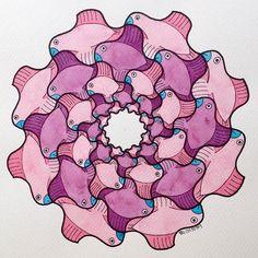 #tessellation #tiling #fractal #handmade #watercolor #aquarelle #birds #circle #disk #escher #mandala #structure #mathart #regolo54