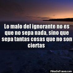 Lo malo del ignorante no es que no sepa nada sino que sepa tantas cosas que no son ciertas