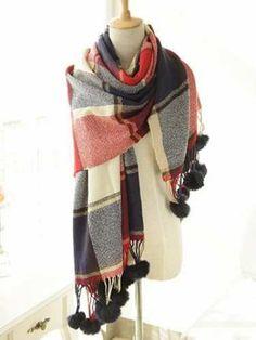 Stylish Plaid Pattern Pompon Pendant Shawl Wrap Pashmina For Women Knitted Gloves, Cashmere Scarf, Plaid Pattern, Womens Scarves, Plaid Scarf, Shawl, Women Accessories, Stylish, Womens Fashion
