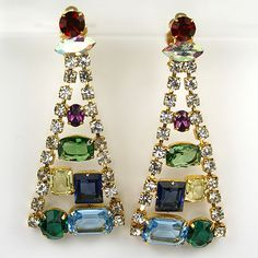 Aurora and Multicolour Gems in pyramid form ~ earring bling