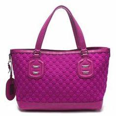"""Gucci Fuchsia Signature """"GG"""" Neoprene Techno Tag Tote Handbag - $449.99"""