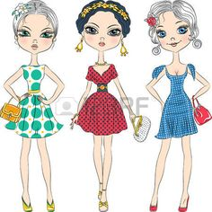set beautiful fashion girls top model in elegant dresses with polka dot pattern and with clutches photo