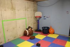 Basement Storage Room turned Kid's Winter Oasis. I wish I had room in my basement for this o they can just run around and not worry about anything breaking!