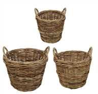 "Creative Co-Op - 16-1/2"", 20-1/2"" & 25"" Round Rattan Baskets w/ Handles, Set of 3"