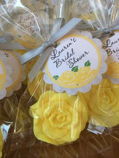 Rose Soap Favors Perfect for Bridal Shower, Wedding, Valentine's Day, Mothers Day or a Tea Party! Handmade Soaps customized by color and scent. grey yellow www.favorsbyangelique.com