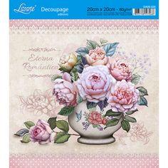 Adesivo de Papel para Decoupage Litoarte 20 x 20 cm - Modelo DA20-026 Vaso com Flores - CasaDaArte