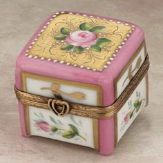 Limoges romantic rose box on pink feet box