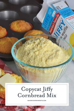 Copycat Jiffy Cornbread Muffin Mix is the perfect, sweet accompaniment to any meal. With just a few simple ingredients, you can make your very own mix. Jiffy Cornbread Recipes, Homemade Cornbread, Cornbread Muffins, Homemade Dry Mixes, Homemade Breads, Homemade Seasonings, Rock Crock Recipes, Drink Recipes, Corn Muffin Mix