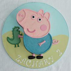 George Pig Cake Images George pig and dinosaur George Pig Cake, Peppa E George, George Pig Party, Happy Birthday To Ya, 3rd Birthday Parties, Birthday Boys, Birthday Ideas, Aniversario Peppa Pig, Peppa Pig Birthday Cake