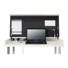 VIKA VEINE Table top IKEA Cable outlets and compartment in the back keep your cords and cables out of view but close at hand.
