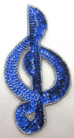 """Treble Clef with Royal Blue Sequins Silver Beads 7.5"""" x 4"""""""