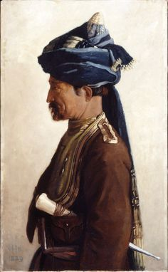 Mohamed, a Jemadar of the 5th Bengal Cavalry, 1889.  Oil on canvas by Vereker Hamilton (1856-1931), 1889, said to have been Head Chaprassie (messenger) to Lord Roberts of Kandahar when he was Commander in Chief India (1885-1893). As a troop commander, the rank of Jemadar had no exact equivalent in the British Army. He wears the scarlet alkalak or kurta (long coat) with gold lace, scarlet facings and blue pugri (turban) trimmed with gold of the 5th Bengal Cavalry, wearing a karud dagger.