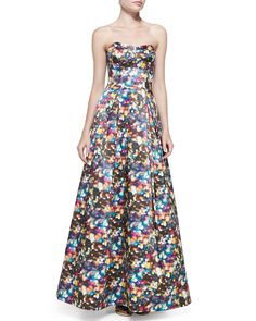 Milly Ava Strapless Glitter-Print Ball Gown
