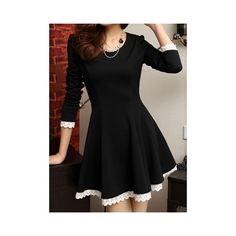 Stylish Scoop Collar Lacework Splicing Waisted Corset Long Sleeve... ($17) ❤ liked on Polyvore featuring dresses, black, longsleeve dress, long sleeve corset dress, long sleeve corset, collar dress and black collared dress