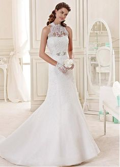 3174edb200b3 Magbridal Elegant Tulle High Collar Neckline Mermaid Wedding Dress With  Beaded Lace Appliques