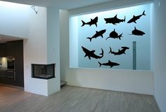 Hey, I found this really awesome Etsy listing at https://www.etsy.com/listing/151822678/wall-decal-set-of-nine-sharks-vinyl-wall