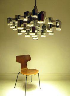 Gaetano Sciolari; Chromed Metal and Perspex Ceiling Light, 1960s.