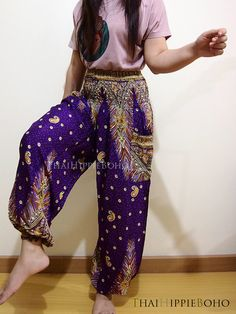 Elegant Peacock Boho Hippie Baggy Pants/ Harem by thaihippieboho, $15.00