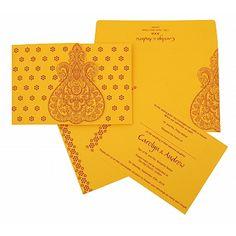 YELLOW PAISLEY THEMED - SCREEN PRINTED WEDDING INVITATIONS https://www.a2zweddingcards.com/card-detail/AIN-801A #weddings #weddinginvitations #weddinginvites #weddinginspiration #weddingplanner #Weddingcards