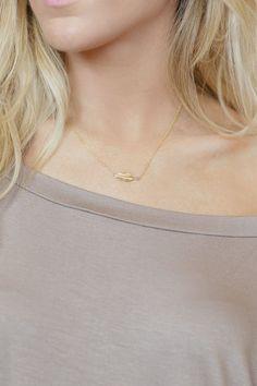 Sideways Feather Necklace Affordable Charm by ThreeBirdNest