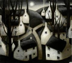 "۩۩ Painting the Town ۩۩ city, town, village & house art - ""Crossroad, Full Moon,"" John Caple"