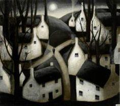 "۩۩ Painting the Town ۩۩ city, town, village & house art - ""Crossroad, Full Moon,"" John Caple"
