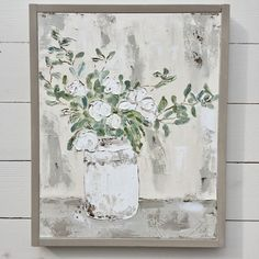 Farmhouse Floral Painting, White Floral Art, Floral Painting by artist Haley Bush Farmhouse Artwork, Farmhouse Paintings, Types Of Painting, Pictures To Paint, Modern Wall Art, Wall Art Designs, Your Paintings, Painting Inspiration, Wall Art Decor