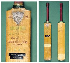 Garfield Sobers' 1958 Cricket Bat – $129,250. In 1958 Sobers beat Len Huttons world record of364 runs in one Test, by one run, to make 365 runs. He scored 38 fours but didn't score any sixes! Cricket Bat, Cricket Sport, World Records, Spikes, Cherries, Childhood Memories, Label, People, Furniture