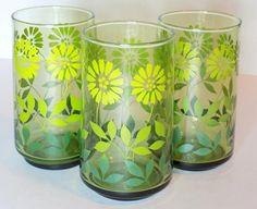 1970s Green Ombre Flower Glasses Set of 3 Light/Medium/Dark