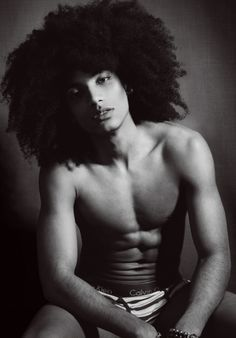 Male Boudoir / Dudoir - Calvin Klein - Portrait - Fro - Afro - Editorial - Black and White - Photography - Pose