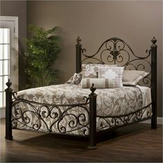 Mikelson Mixed Wood U0026 Iron Bed In Aged Antique Gold By Hillsdale