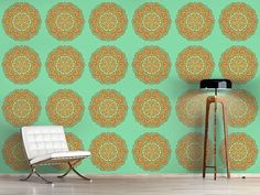 Design #Tapete Herbst Mandala Mandala, Contemporary, Rugs, Home Decor, Self Adhesive Wallpaper, Fall Color Schemes, Asia, Wall Papers, Farmhouse Rugs