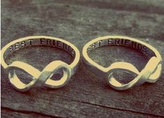BFF rings with the infinity sign...would love this in silver and if I had a best friend I could trust this would be cool to have.