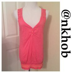 Crocheted Back Top Beautiful Coral colored top with a smocked bottom and crocheted back and shoulders. Longer length EUC (A) Energie Tops Tank Tops